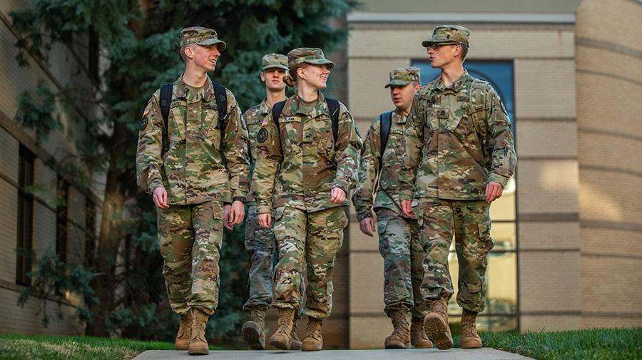 ROTC students walking